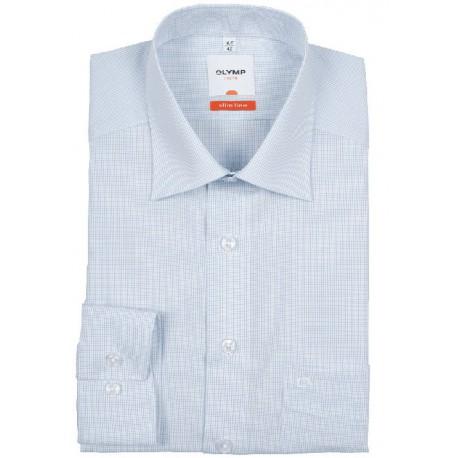 Košeľa Olymp New Kent Modern Fit bielo-modrá kockovaná s predĺženým rukávom (69 cm)