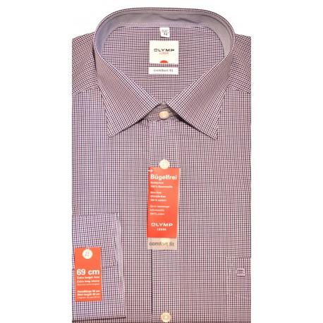 OLYMP Comfort Fit košeľa predĺžený rukáv čierno fialové malé kocky