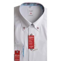 OLYMP Comfort Fit košeľa predĺžený rukáv biela farebné gombíky a vnútorné lemovanie goliera a mnažety