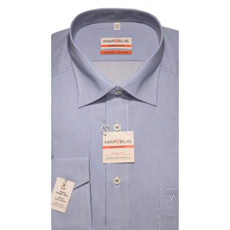 Košeľa Marvelis Modern fit (SLIM FIT) bielo-modrý tenký pásik
