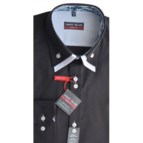 Košeľa Marvelis Body fit čierna s bielym podšitím goliera