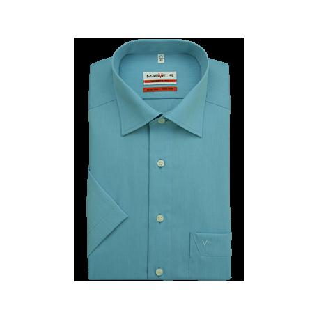 Košeľa Marvelis Modern Fit Chambray tyrkysová s krátkym rukávom