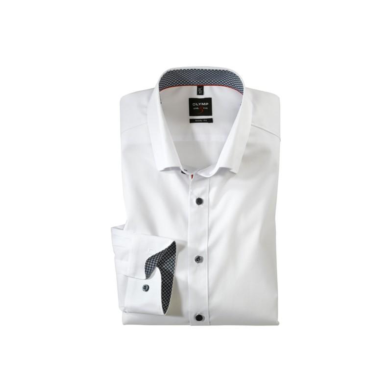 ca5d93331338 OLYMP Level Five New York Kent Body Fit Stretch Uni biela manžeta a golier  štruktúrovaný. Loading zoom