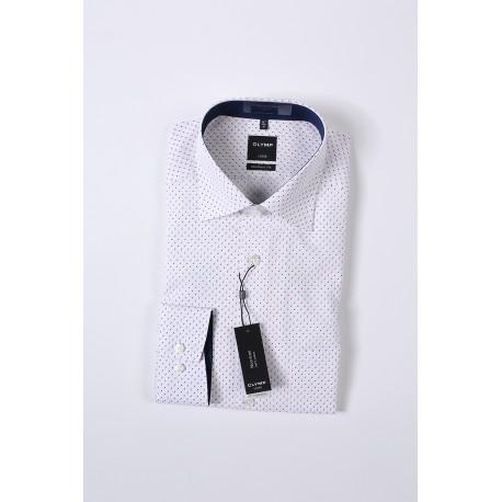 Košela Olymp Luxor Modern Fit Non - iron, biela vzorovaná, 100% bavlna