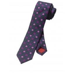 Kravata Olymp, čierno ružová vzorkovaná