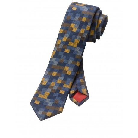 Kravata Olymp, oranžovo modrá vzorkovaná